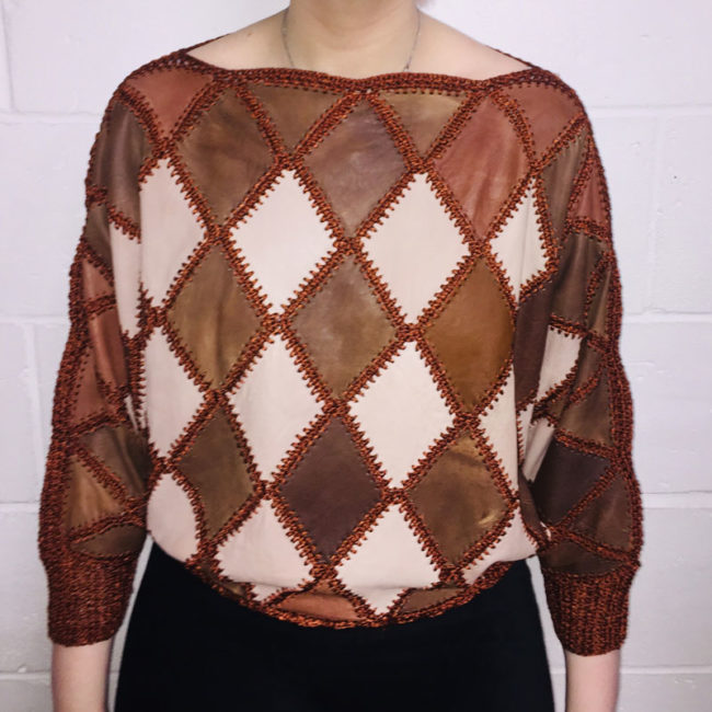 80s Brown And Beige Jumper