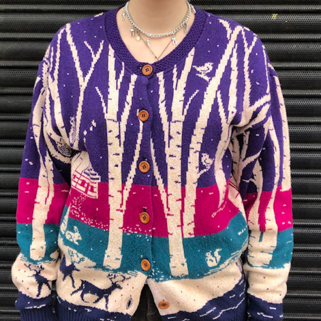 80s Christmas Woodland Design Cardigan
