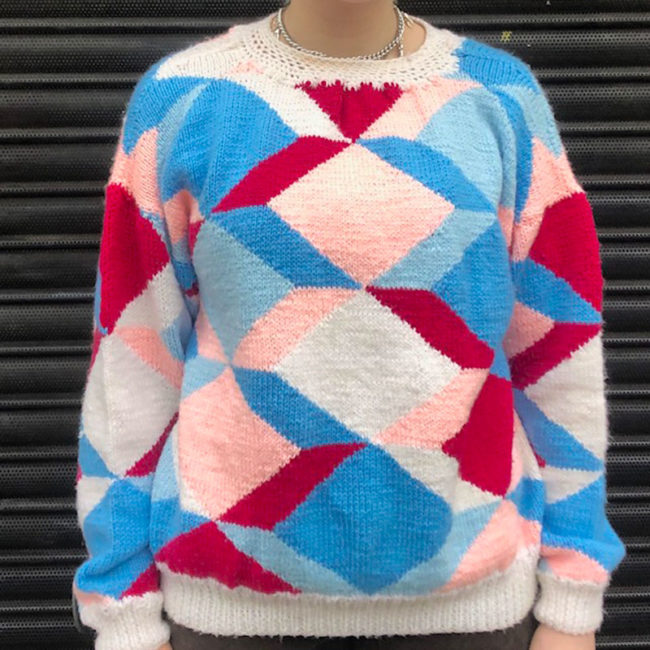 80s Multicolored Geometric Shapes Sweater
