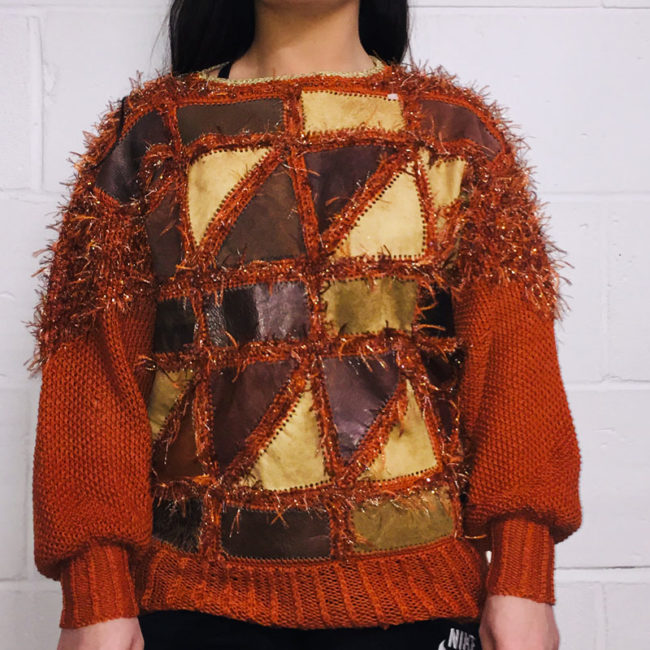 80s Patch work Suede Knit Jumper