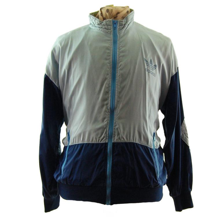 Adidas Grey And Blue Windbreaker