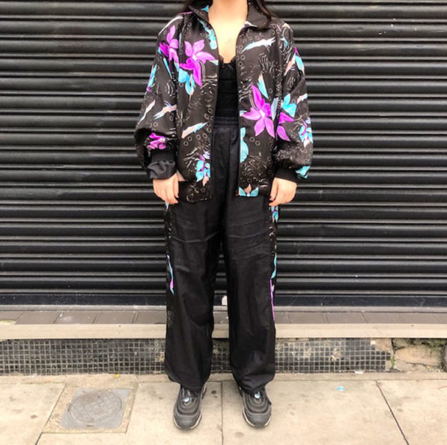 Black Floral Shell Suit
