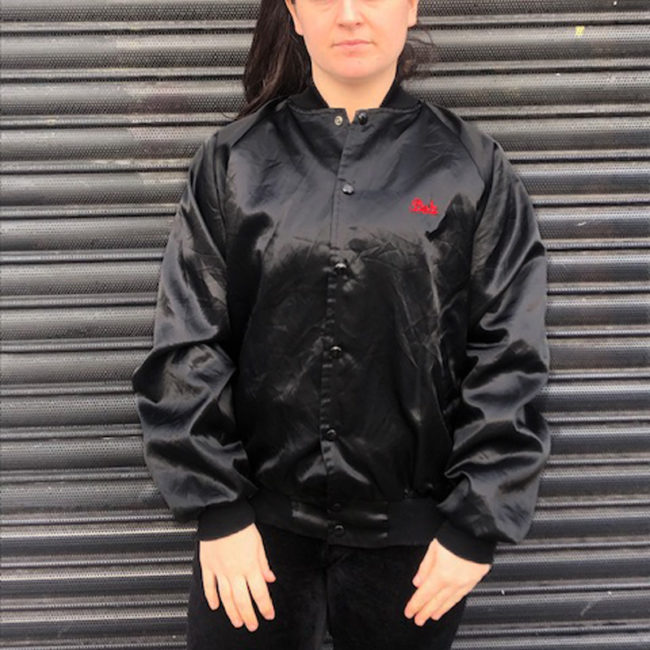 Black Satin Baseball Jacket
