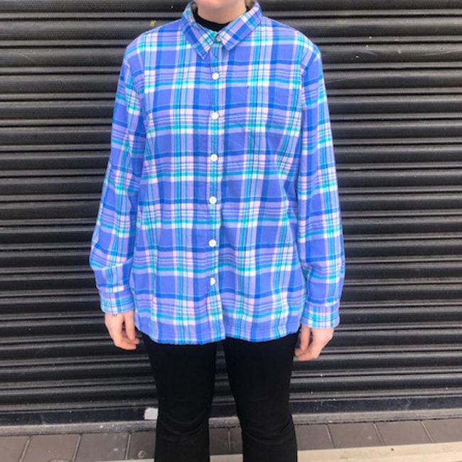 LL Bean Blue Checkered Fleece Lined Shirt