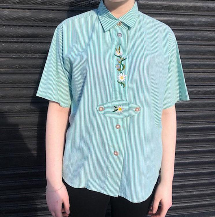 Green Pinstripe Tyrolean Shirt