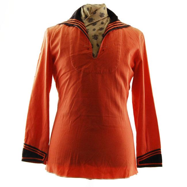Bright Orange Bib Sailor Top