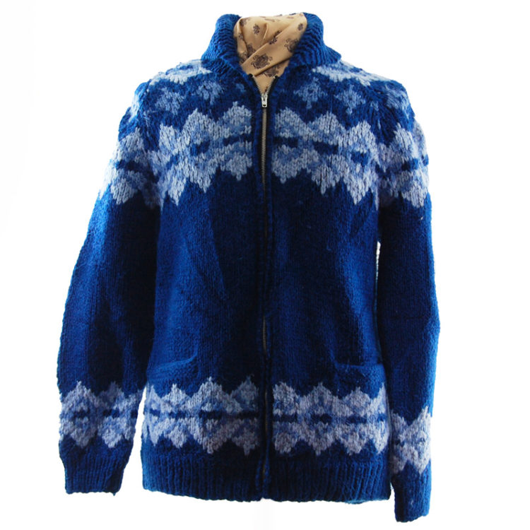 Navy Blue Buffalo Cardigan