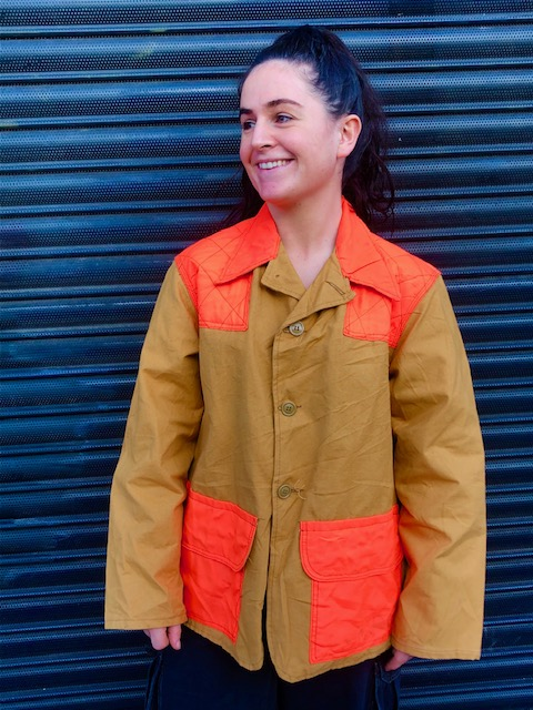 Neon Orange And Canvas Hunting Jacket