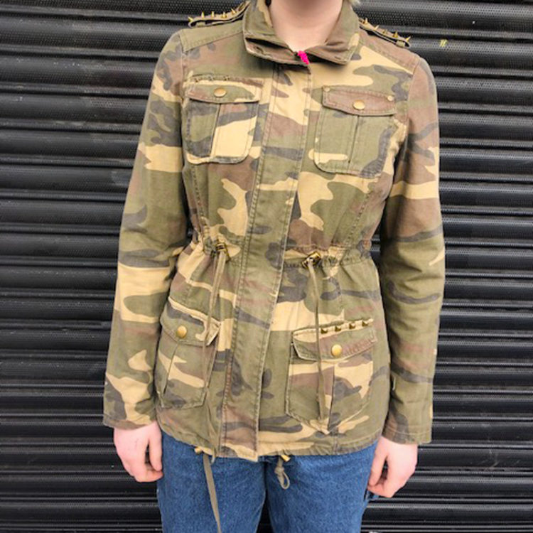 Studded Camo Print Denim Jacket