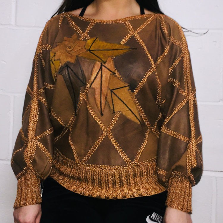 Vintage Brown Diamond Patchwork Jumper