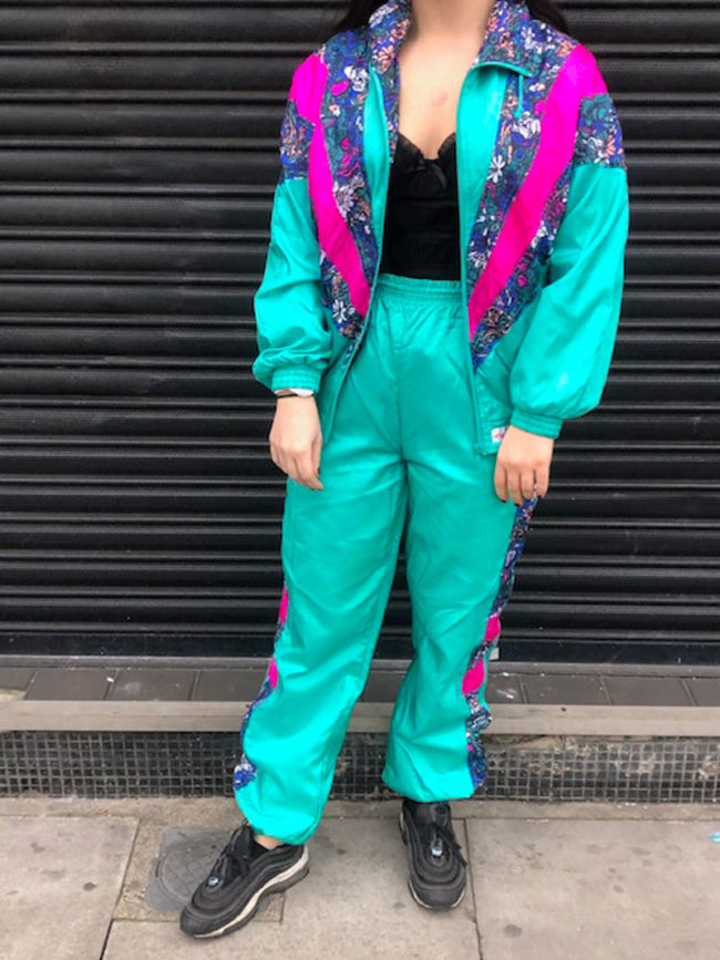 Vintage Teal Floral Shell Suit