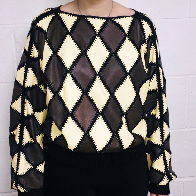 White And Brown Diamond Patchwork Jumper
