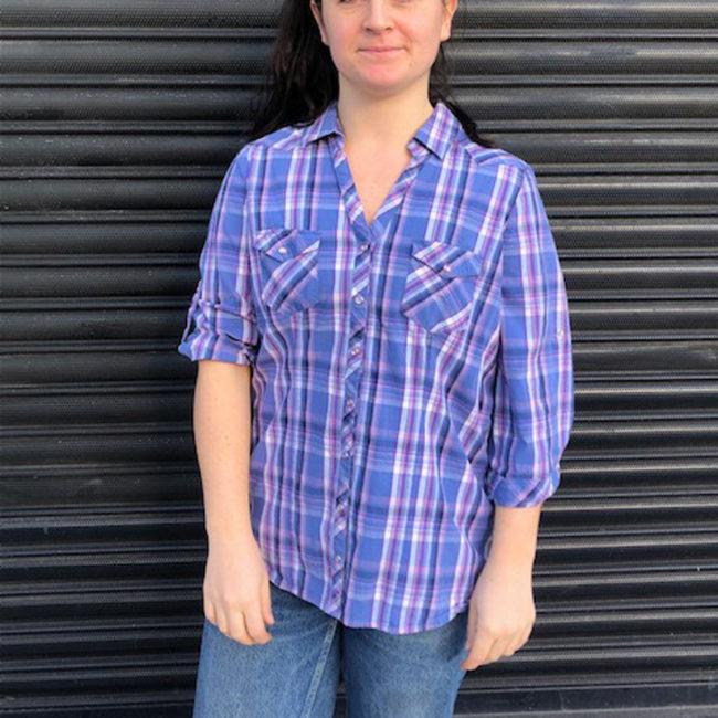 Womens Blue Cotton Shirt