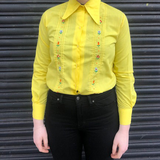 70s Yellow Floral Embroidery Shirt