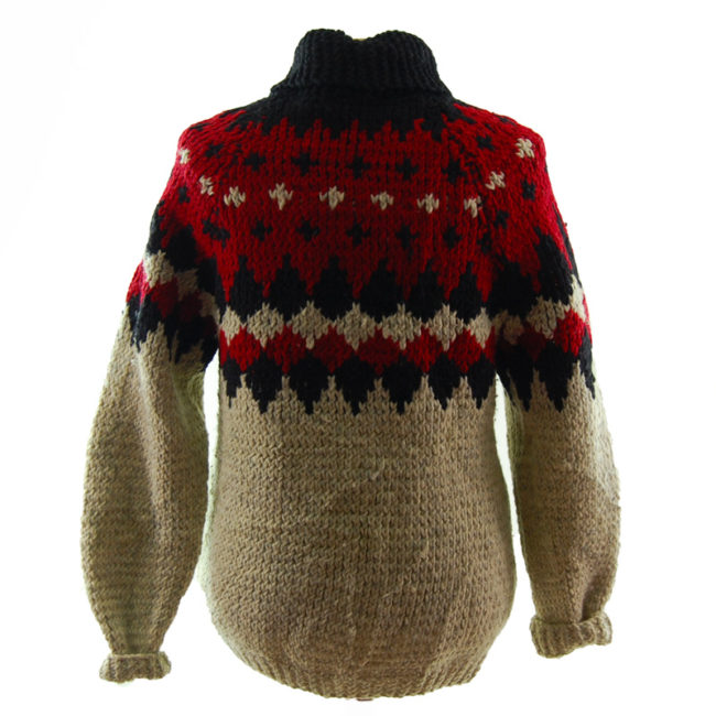 back of Red And Black Buffalo Cardigan