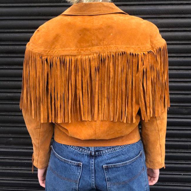 back of 90s Orange Suede Fringed Jacket