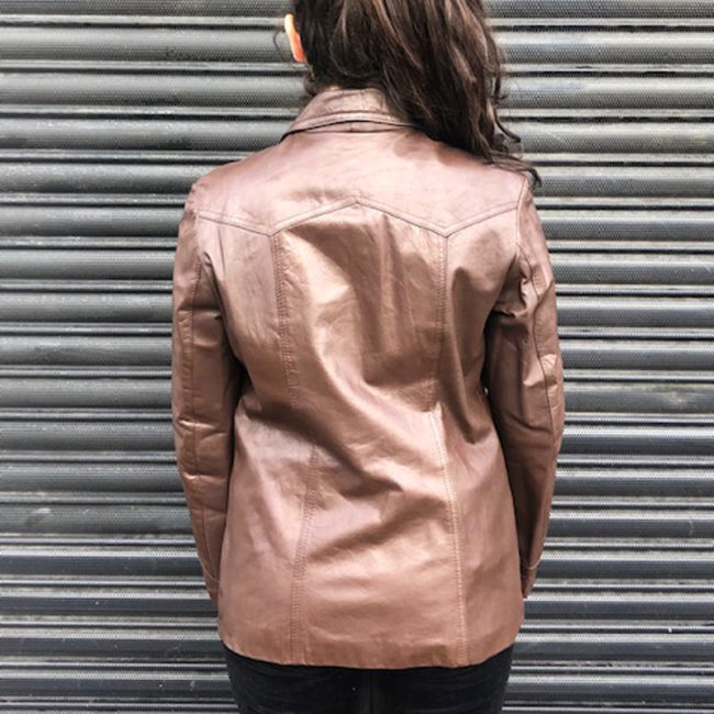 back of 70s Real Brown Leather Jacket