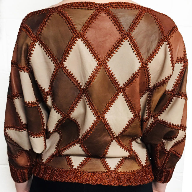 back of 80s Brown And Beige Jumper