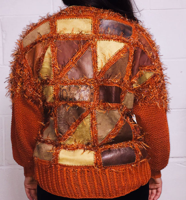 back of 80s Patch work Suede Knit Jumper