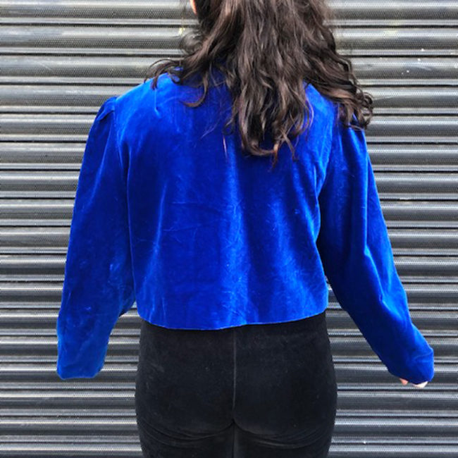 back of 80s Royal Blue Puff Sleeve Jacket