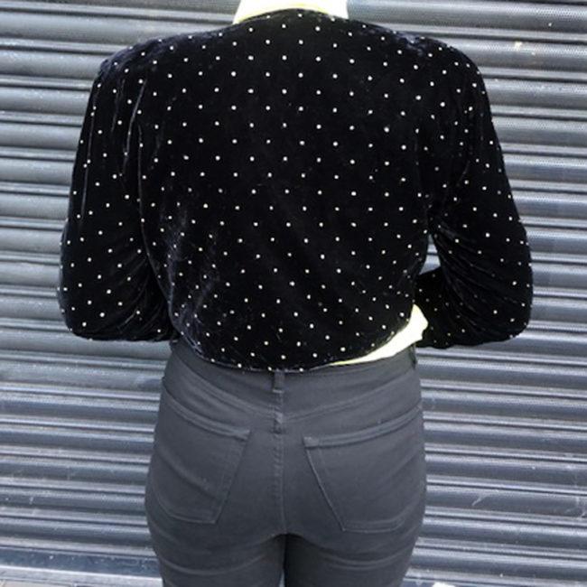 back of 80s Velvet Gold Studded Jacket