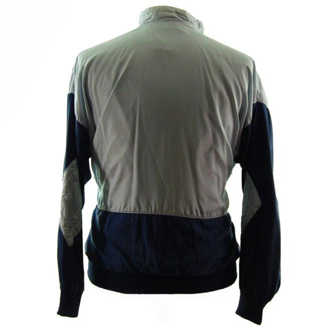 back of Adidas Grey And Blue Windbreaker