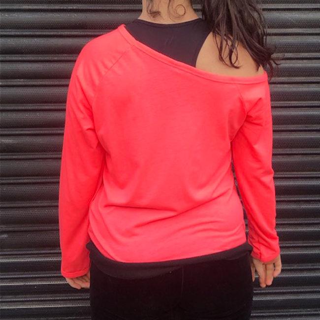 back of Adidas Neon Pink Tee Shirt