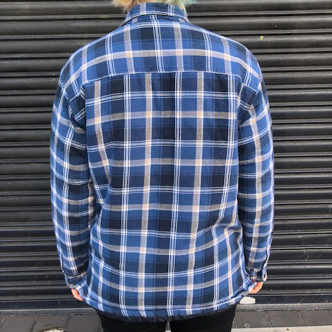back of B.C Clothing Quilted Checkered Shirt