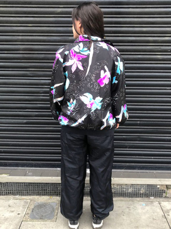 back of Black Floral Shell Suit