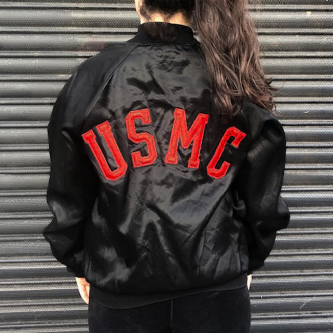 back of Black Satin Baseball Jacket