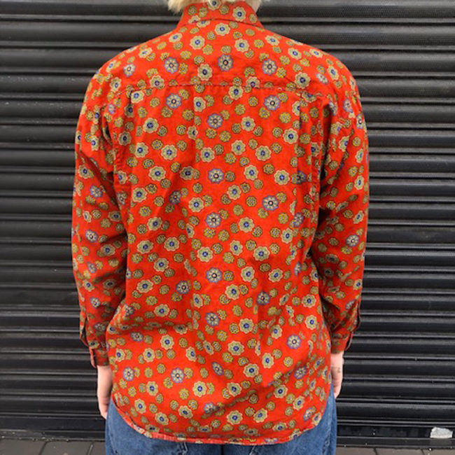 back of Burnt Orange Floral Shirt