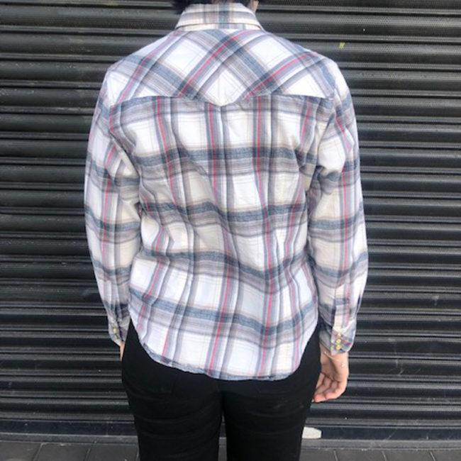 back of Columbia Plaid Shirt