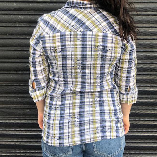 back of Denver Hayes Madras Plaid Shirt