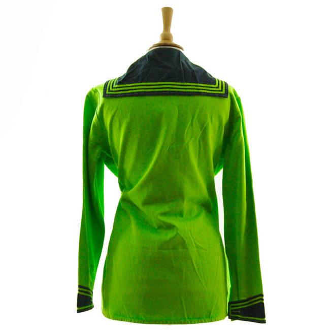 back of Florescent Green Long Sleeve Sailor Top