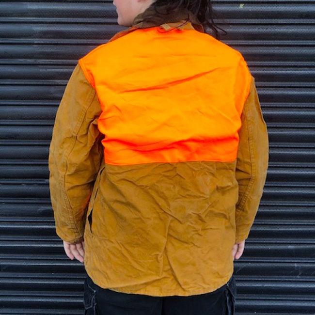 back of Florescent Orange And Canvas Hunting Jacket