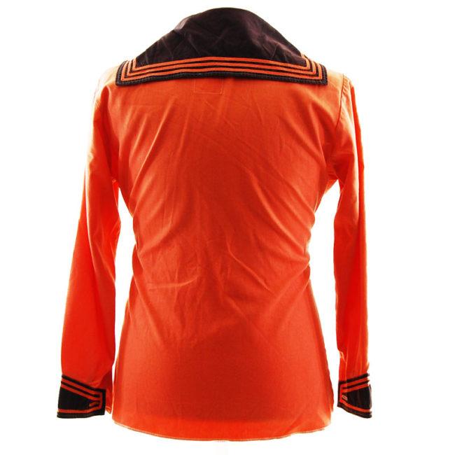 back of Bright Orange Bib Sailor Top