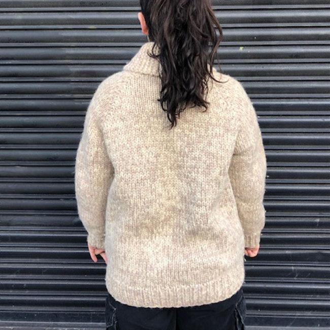 back of Light Brown Buffalo Cardigan
