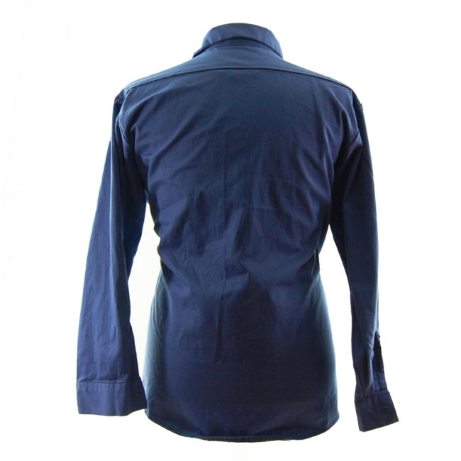 back of Mens Blue Cintas Work Shirt