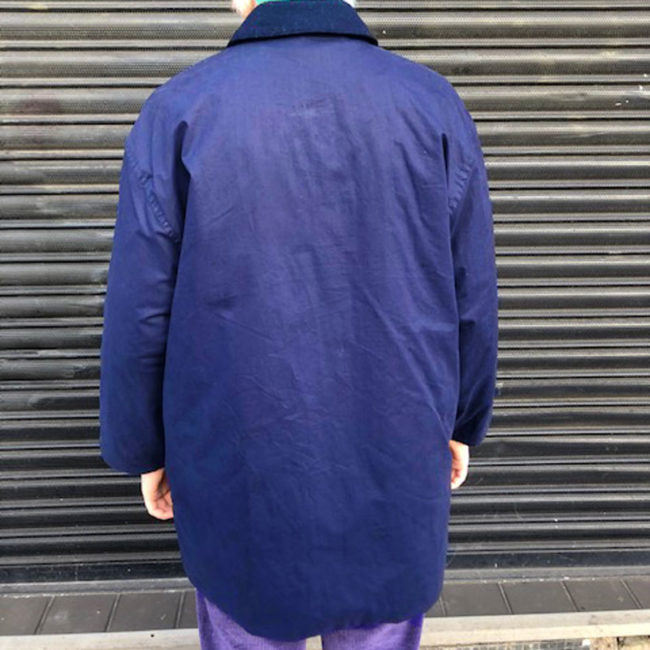 back of Yellow And Navy Burberry Coat