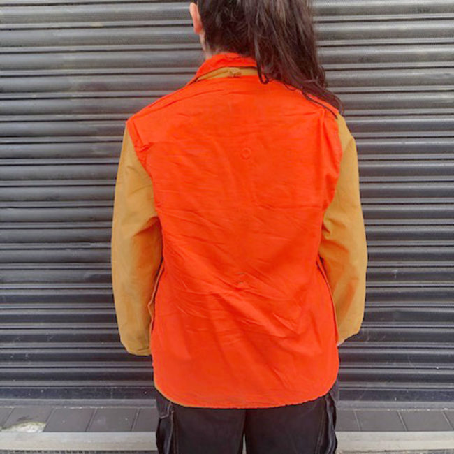 back of Neon Orange And Canvas Hunting Jacket