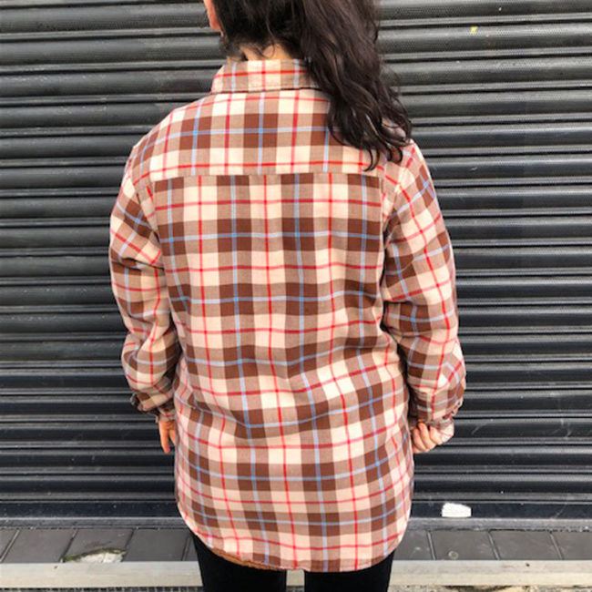 back of Quilted Brown Checkered Shirt