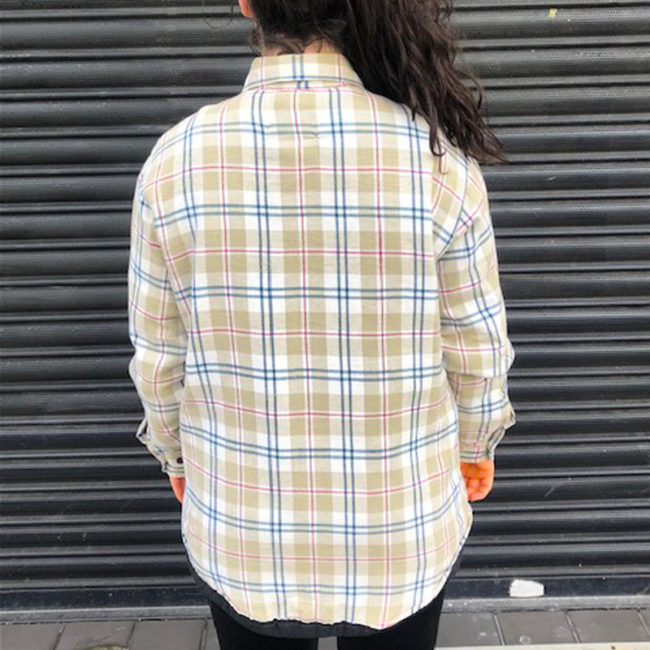 back of Quilted Light Green Checkered Shirt