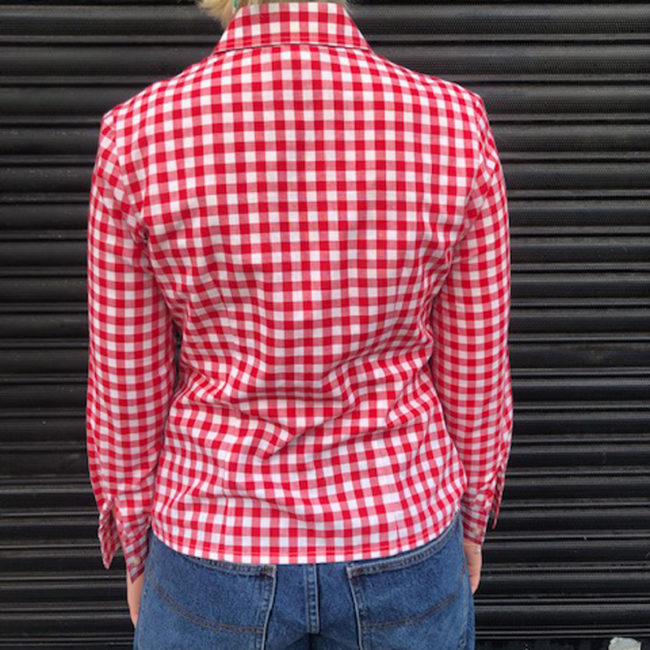 back of Red And White Gingham Shirt