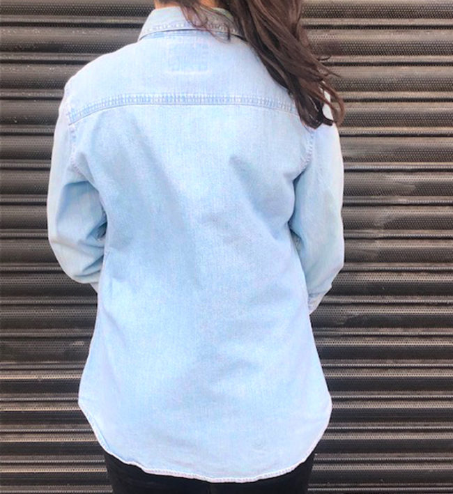 back of Red Tab Light Blue Denim Shirt