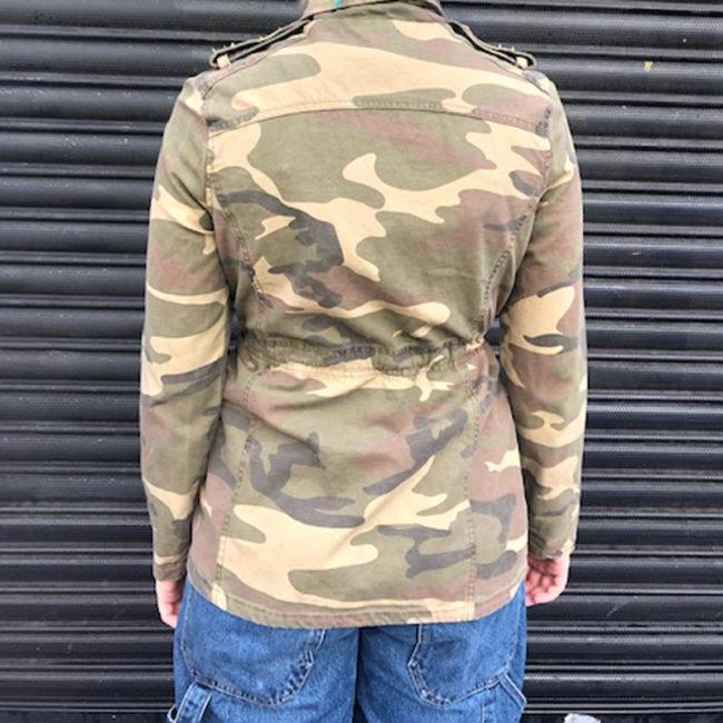 back of Studded Camo Print Denim Jacket