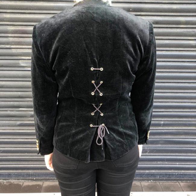 back of 90s Black Velvet Jacket