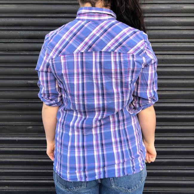back of 90s V-neckline Plaid Shirt