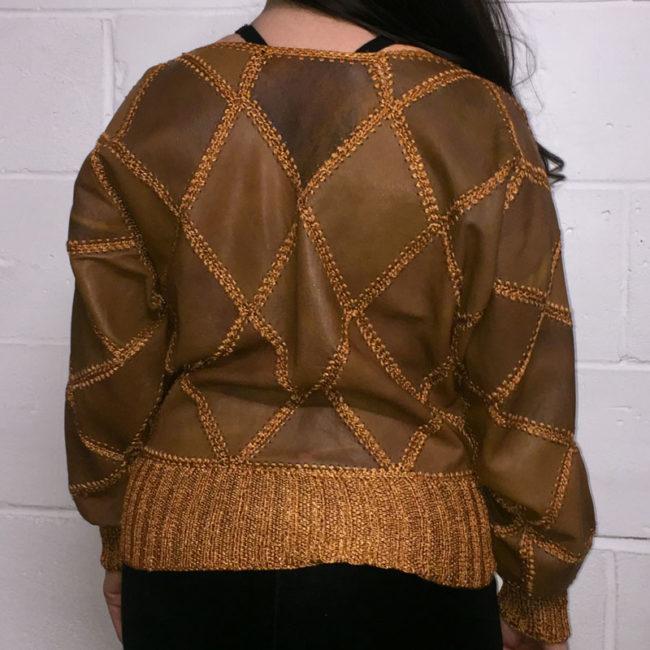 back of Vintage Brown Diamond Patchwork Jumper