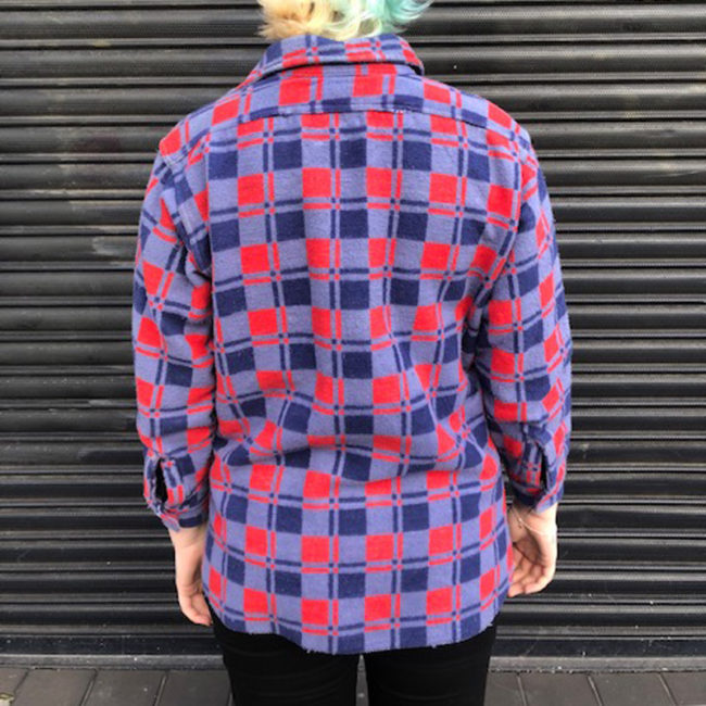 back of Vintage Champion Fleece Checkered Shirt