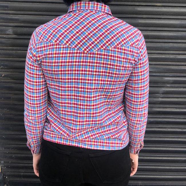 back of Vintage Multicolored Gingham Shirt
